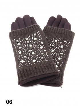 Double Layer Touch Screen Glove W/ Pearl Rhinestone