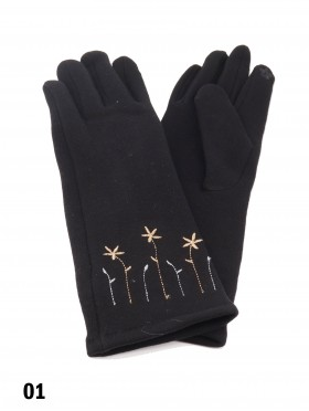Flower Embroidery Over The Wrist Touch Screen Glove