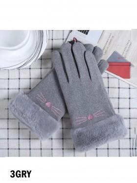 Fleece Lined Cat Gloves w/ Faux Fur Trims