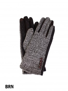 Button Tweed Touch Screen Glove