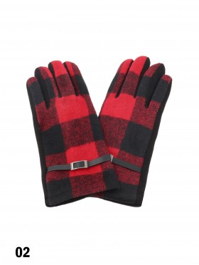 Buffalo Plaid Touch Screen Glove W/ Belt