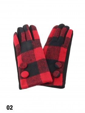 Double Button Plaid Touch Screen Glove