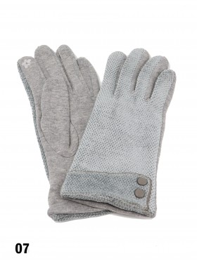 Double Button Chenille Feel Touch Screen Glove
