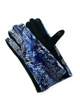 Snake Skin Velvet Touch Screen Gloves