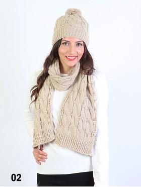 Fashion Knitted Matching Set W/ Pom Pom (Scarf, Hat)