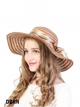 SUMMER FLOOPY STRAW HAT WITH RIBBON