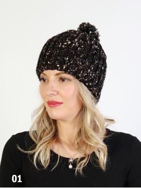 Two Tone Knitted Hat W/ Pom Pom