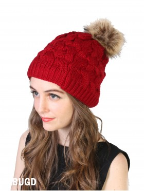 Braided Knit Hat W/ Removable Pom Pom