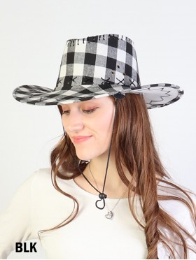 Plaid Cow Boy Hat