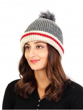 Knitted Hat W/ Removable Pom Pom
