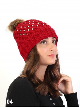 Knitted Hat W/ Rhinestone On One Side & Removable Pom Pom (Plush Inside)