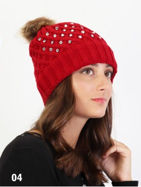 Knitted Hat W/ Rhinestone On One Side & Removable Pom Pom (Plush Inside)