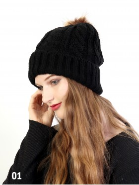 Cable Knitted Hat W/ Removable Pom Pom (Plush Inside)