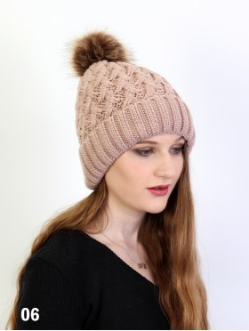 Weave Knitted Hat W/ Removable Pom Pom (Plush Inside)