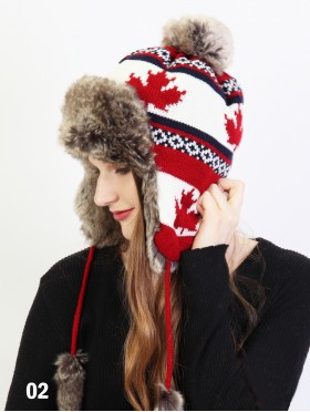 Warm Fur Maple Leaf Knitted Hat W/ Ear Flaps & Fur Tassels