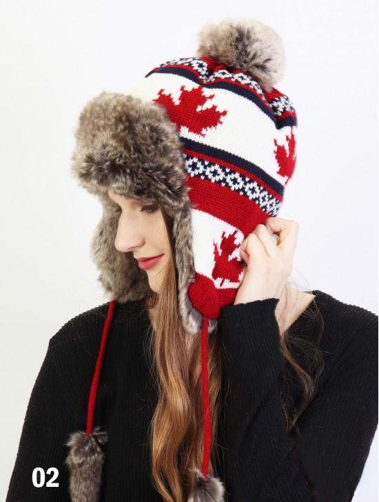 Warm Fur Maple Leaf Knitted Hat W/ Ear Flaps & Fur Tassels