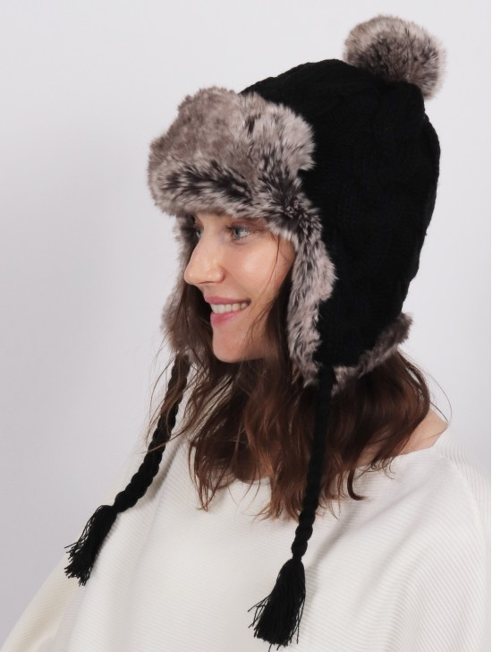 Warm Fur Cable Knitted Hat W/ Ear Flaps & Cable Tassels