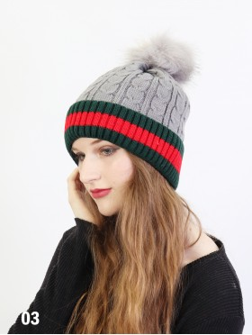 Red Stripe Cable Knitted Hat W/ Pom Pom (Plush Inside)