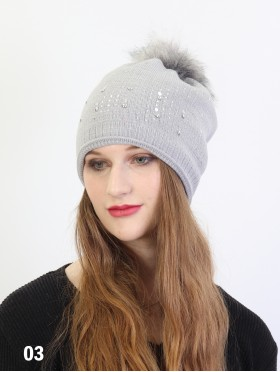 Sparkle Rhinestone Knitted Hat W/ Pom Pom (Fleeced Inside)