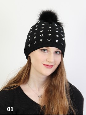 Heart Foil Print Knitted Hat W/ Pom Pom (Fleeced Inside)
