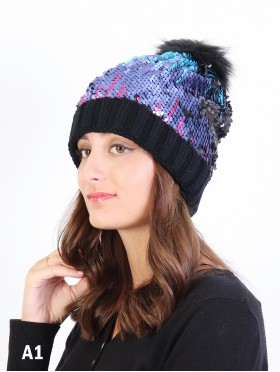 "Sequin Scale ""Color Changing""  Knitted Hat With Pom Pom"