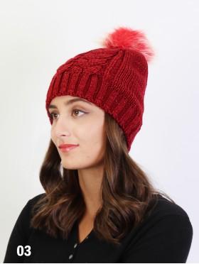 Snowy Knitted Hat W/ Pom Pom (Fleeced Inside)