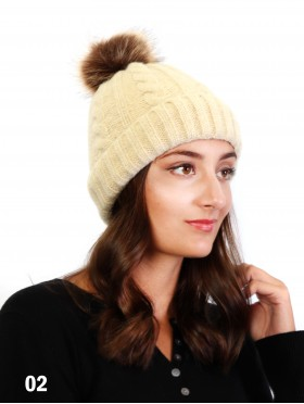 Soft Surface Knitted Hat W/ Removable Pom Pom (Plush Inside)