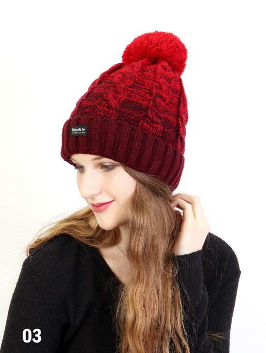 Two Tone Cable Knitted Hat W/ Pom Pom (Plush Inside)