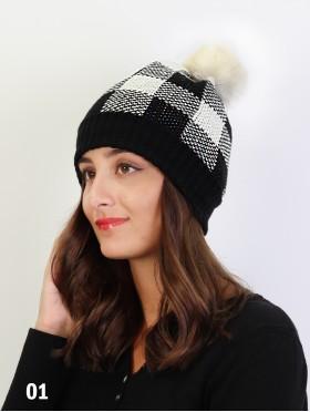 Knitted Plaid Hat W/ Pom Pom