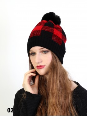 Knitted Plaid Hat W/ Pom Pom