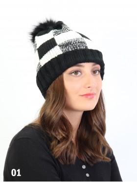 Plaid Knitted Hat W/ Pom Pom