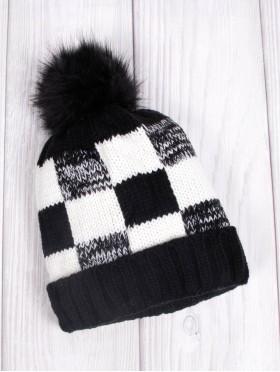 Plaid Knitted Hat W/ Pom Pom