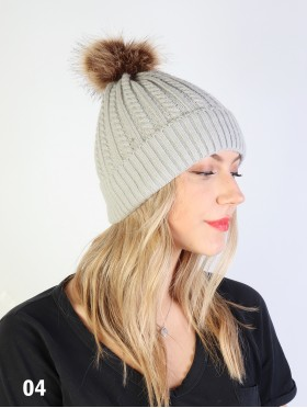 Cable Knitted Hat W/ Removable Pom Pom + FREE PP