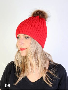Cable Knitted Hat W/ Removable Pom Pom