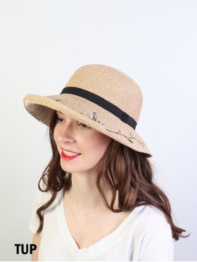 Fashion Straw Hat with Floral Details