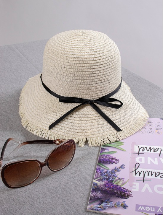 Summer Straw Hat W/ Black Ribbon Bow