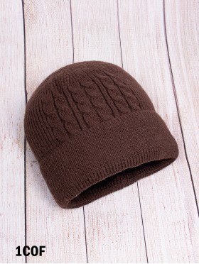 Cable Knitted Hat With Brim