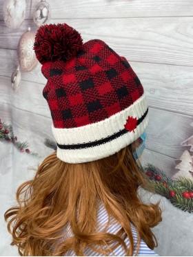 Buffalo Plaid Winter Hat W/ Maple Leaf