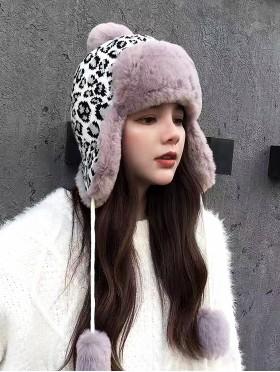 Warm Fur Leopard Print Knitted Hat W/ Ear Flaps & Fur Tassels
