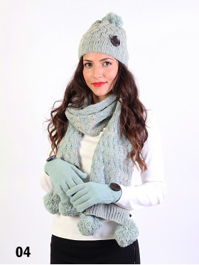 Fashion Knitted Matching Set W/ Pom Pom & Button (Scarf, Hat, Gloves)