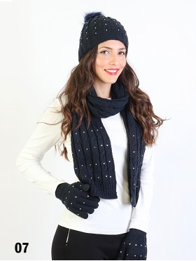 Rhinestone Knitted Matching Set (Scarf, Hat, Gloves)