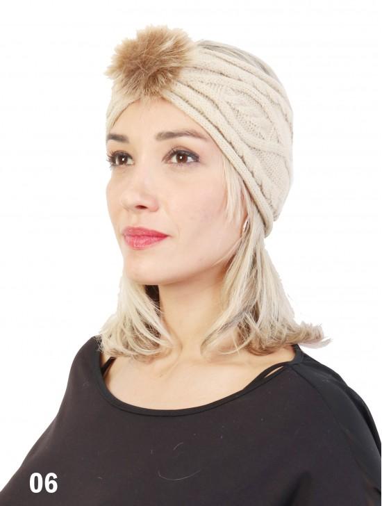 Knitted Headband W/ Fur Pom Pom