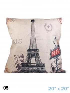 EIFFEL TOWER PRINT CUSHION & FILLER