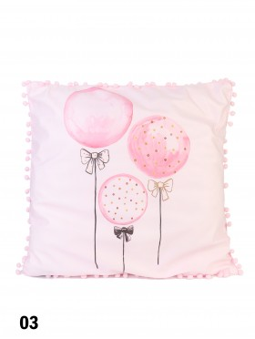 Large Pink Cushion W/ Little Pompoms