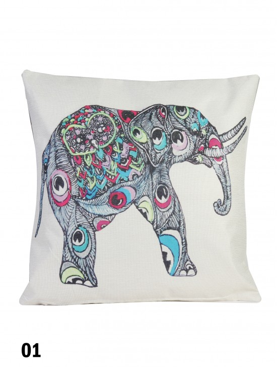 Abstract Elephant Print Cushion W/ Filler