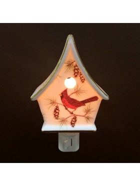 Porcelain Cardinal On Birdhouse Night Light