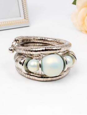 Matt Finish Stretchy Wrap Bracelet W/ Natural Stones