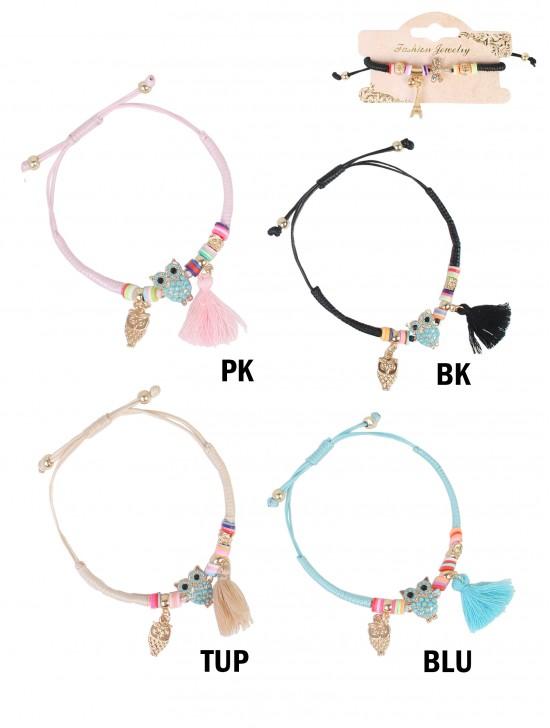 Stretch Bracelet W/ Owl Charms