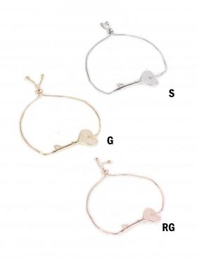 Adjustable Rhinestone Stretch Bracelet W/ Heart Key
