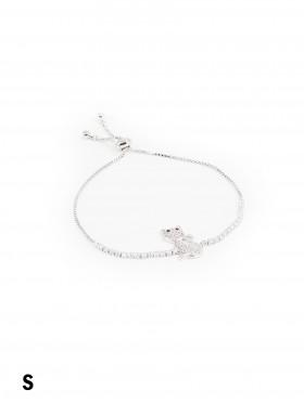 Adjustable Rhinestone Stretch Bracelet W/ Cat